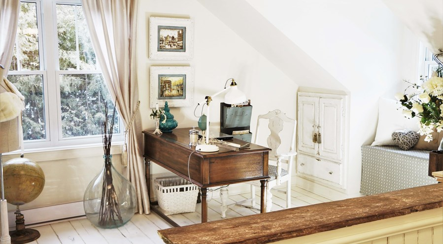 bureau de travail 39 39 shabby chic 39 39 marie lise antiquit design. Black Bedroom Furniture Sets. Home Design Ideas